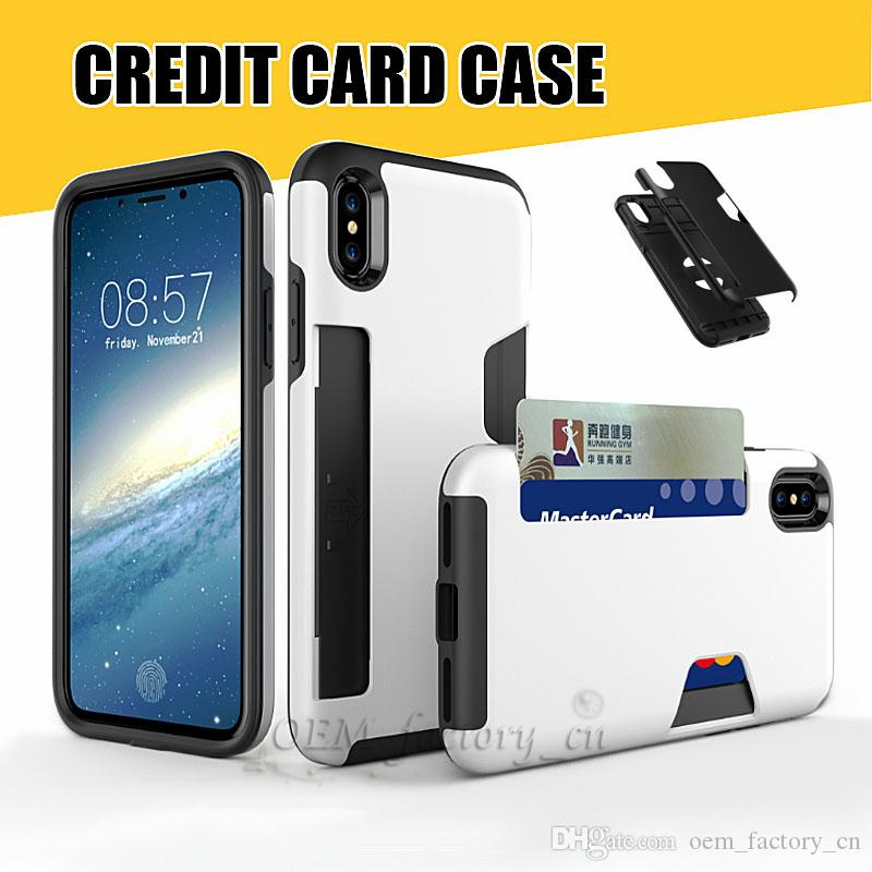 09b5df24907 Luxury Credit Card Slot Case For IPhone X 8 Hybrid Soft TPU Hard PC Light  Weight Fitted Back Cover Shell For 7 Plus Silicone Phone Cases Cell Phone  Cover ...