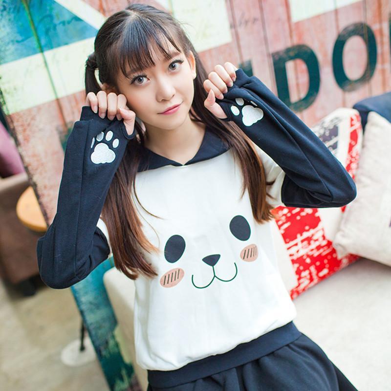 406e0e495 Al por mayor-Sailor Collar Anime Pullover Mujeres Kawaii Cute Hoodies  Harajuku Panda Cara Garra Sudadera Japón Niñas Moda otoño ropa