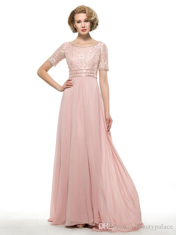 High Quality A Line Scoop Floor Length Light Pink Chiffon Mother Of The Groom Dresses Half Sleeve Lace Beaded New Arrival Cheap Evening Gown