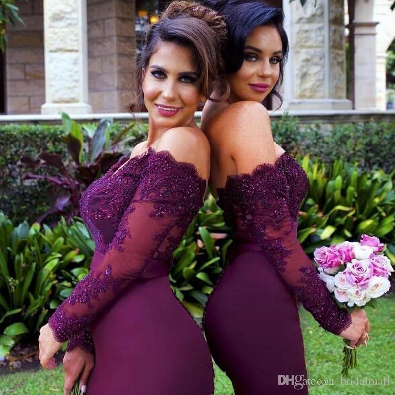 2019 Burgundy Long Sleeves Mermaid Bridesmaid Dresses Lace Appliques Off the Shoulder Maid of Honor Gowns Plus Size Wedding Guest Dresses
