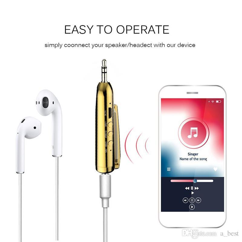 iPhone X XS Max Wireless Bluetooth Audio AUX Receiver Penna adattatore con jack da 3,5 mm Mini Car Kit vivavoce Clip-on Samsung S9