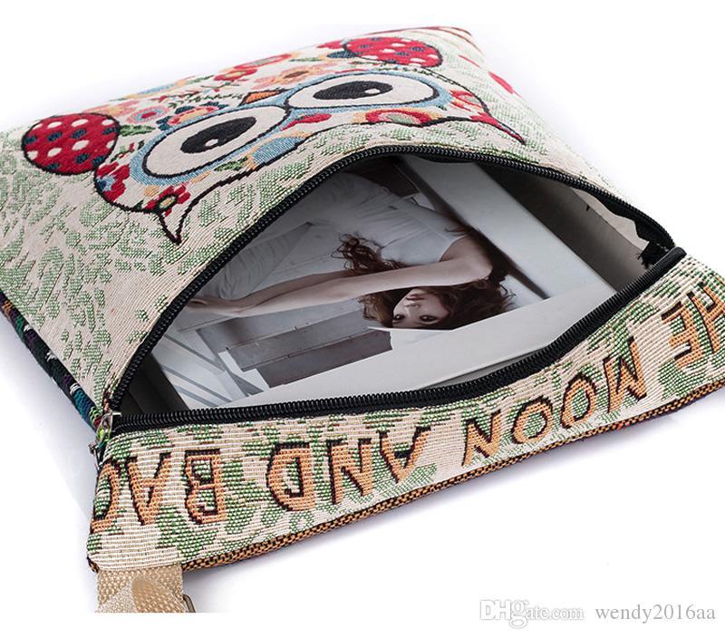 2017 New Zipper Female Mini Flap Shoulder Handbags Cartoon Owl Printed Canvas Bags Women Small Shoulder Messenger Bags