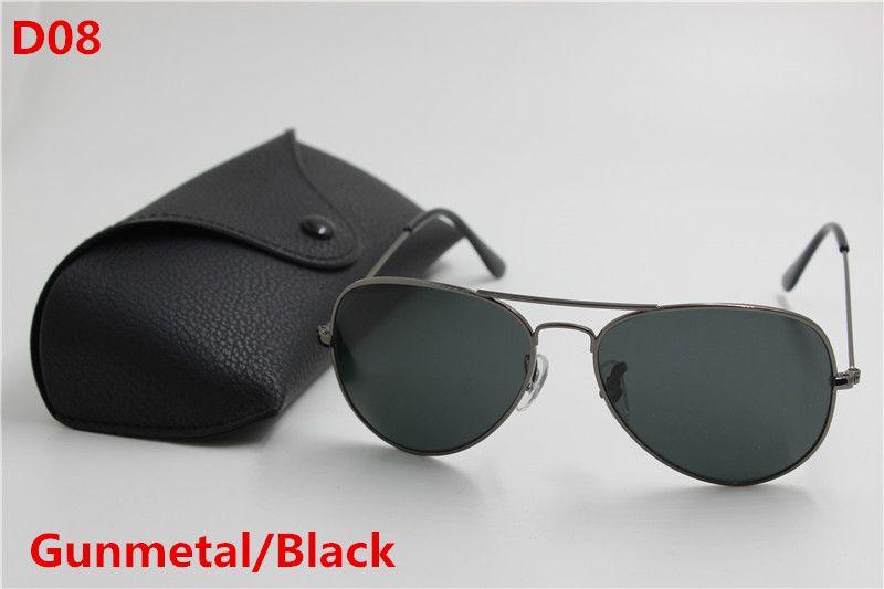 New high quality fashion designer men's classic vintage sunglasses metal frame Mirror glass 58mm lens UV400 protection black case