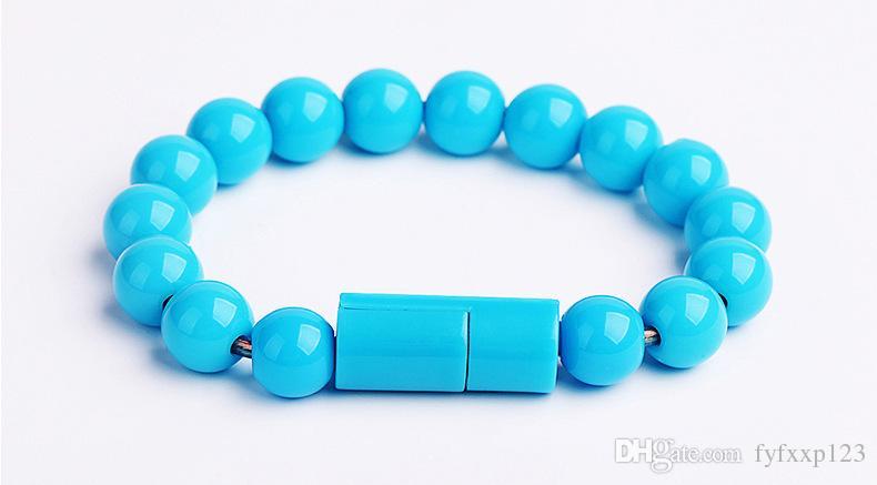 Bouddha Perles Bracelet Micro USB Chargeur Câble 23 cm Data Sync Charge Adaptateur Cordon pour iP 7 Samsung S6 S7 HTC Xiaomi A25