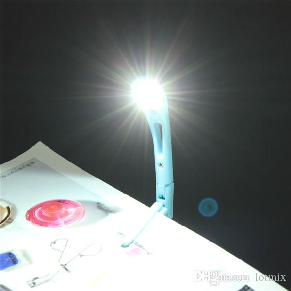 Tiny Random Color Lovely Mini Flexible Book Light LED Booklight Travel Book Reading Lamp Clip On Folding Portable
