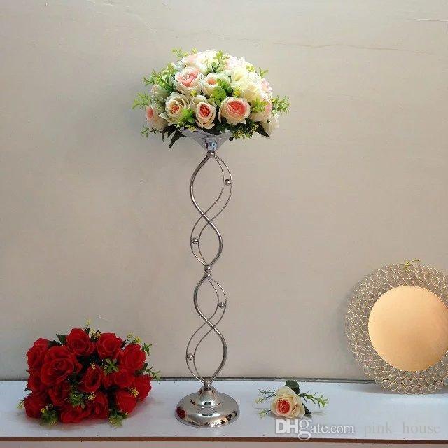 2019 Cheap Elegant New Designe Tall Metal Material Silvery Wedding Pillar Flower Stand Vase