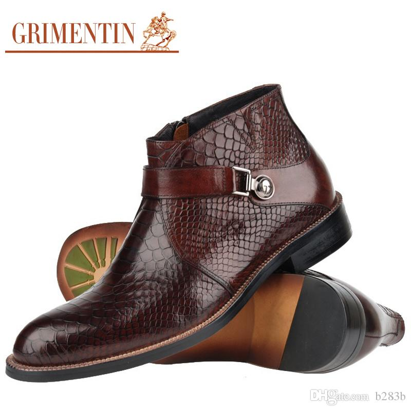 GRIMENTIN Men Boots Genuine Leather Italian Black Brown Luxury Fashion  Casual Ankle Boots Men Shoes Male For Wedding Business Size 38 45 BH1  Footwear Fringe ... 089d5767c5