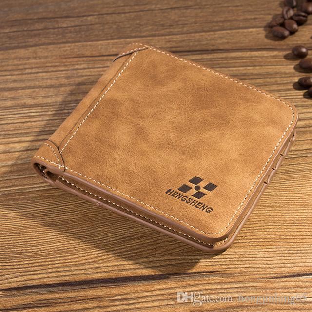 Mode Neue Vintage Style Männer Geldbörsen Markenqualität Nubuk PU Leder 3 Falten Braun Kreditkarteninhaber Geldbörse Brieftasche Freies Verschiffen