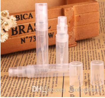 3000 adet 2 ml şeffaf plastik parfüm şişesi Atomizer dağıtım taşınabilir boş şişeler parfüm plastik sprey şişeleri Sıvı Yağ Koku