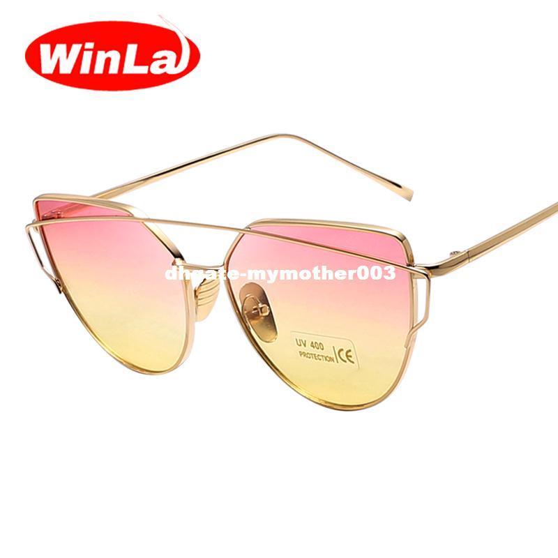 d7782b16eb5 Winla Fashion Brand Designer Sunglasses Women Cat Eye Sunglasses Metal  Frame Flat Sun Glasses Colorful Lens Vintage Shades UV400 Sunglasses Case  Knockaround ...