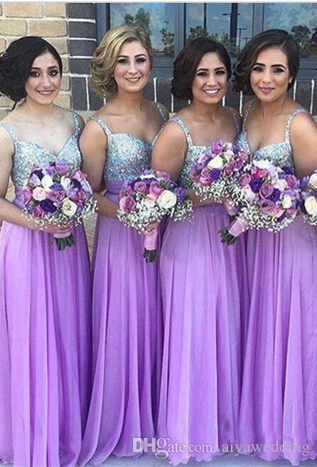 Viola abiti da damigella d'onore 2019 A Line Spaghetti Strap perline Paillettes Chiffon Wedding Guest Dress pieghe lunghe Zipper economici abiti da festa