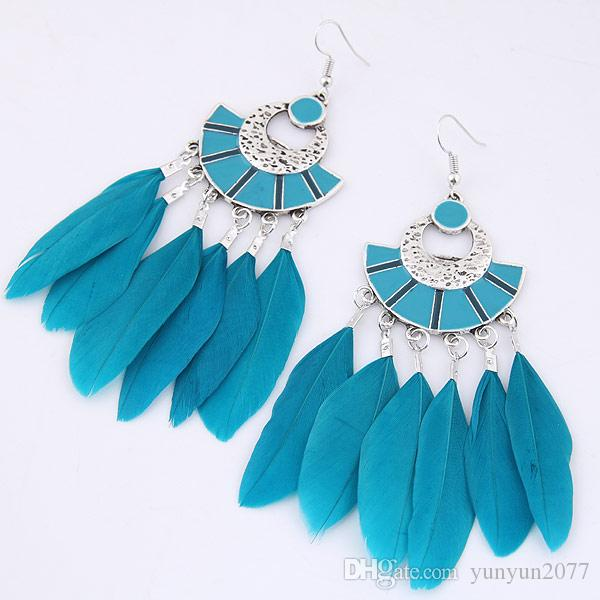 Bohemia National Vintage Retro Geometric Sector Feather Pendants Statement Drop Dangle Earrings Charm Fashion Accessories Jewelry For Women