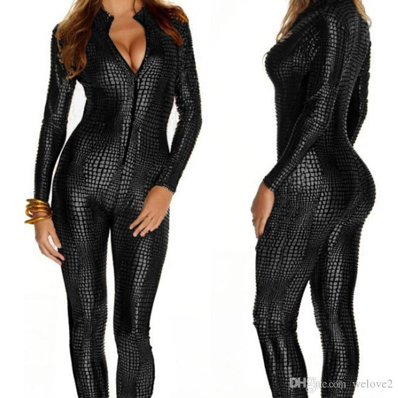 53acf229f0d 2019 European Sexy Faux Leather Snake Skin Jumpsuit Front Zip Long Sleeve  Plus Size XXL Bodysuit Spandex Catsuit Women X6614 From Welove2
