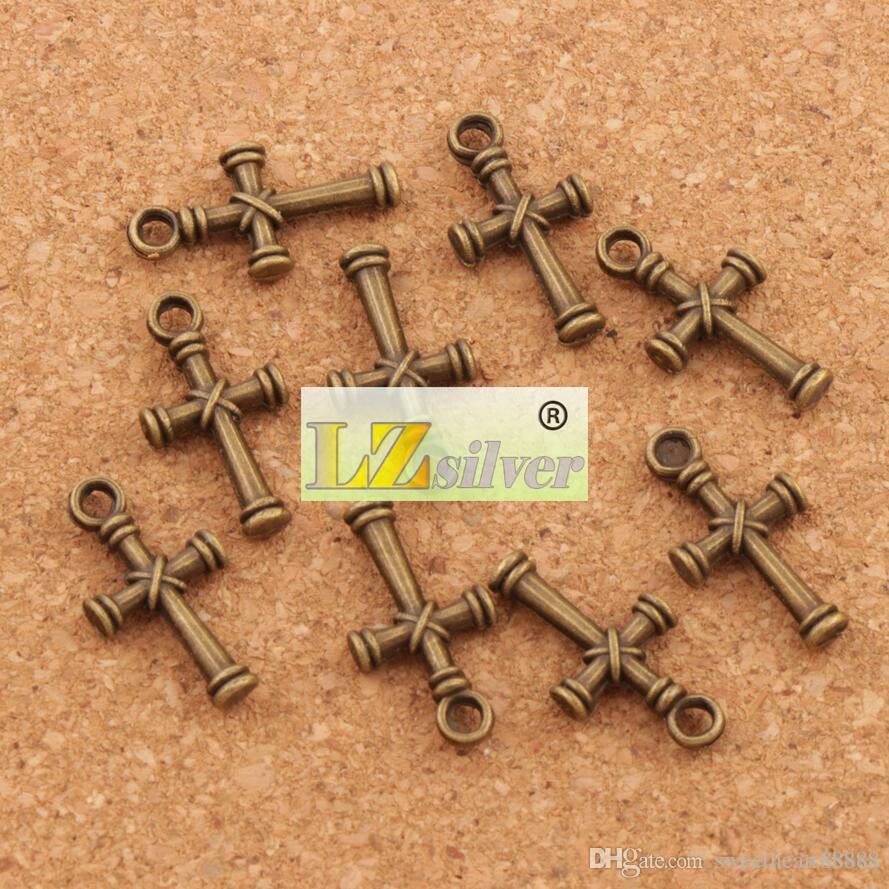 Nail Cross Charms Colgantes 150 unids / lote es Plata Antigua / Bronce Colgante de Joyería DIY L482 11.1x20.7mm