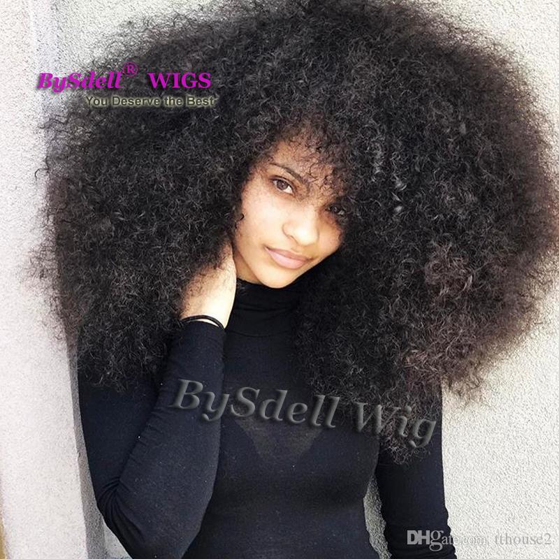 Afro Fofo Kinky Curly Grande Peruca de Cabelo Sintético Africano Preto Mulheres esféricas Penteado Lace Frente Perucas para As Mulheres Negras