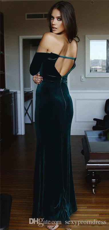 Dark Green Velvet Abendkleider 2017 Schulterfrei Lange Ärmel Open Back Prom Kleider Side Split Mermaid Cocktail Formal Party Dress