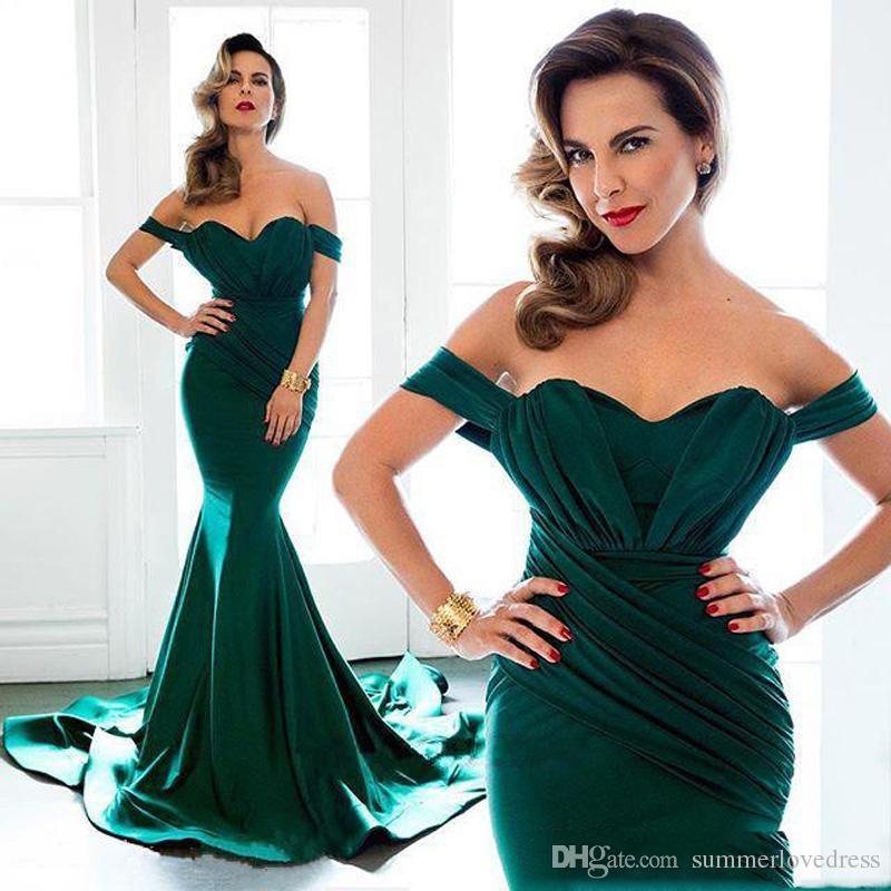 2017 New Dark Green Weg Von Der Schulter Satin Meerjungfrau Abendkleider Rüschen Bodenlangen Formale Gast Party Prom Kleider