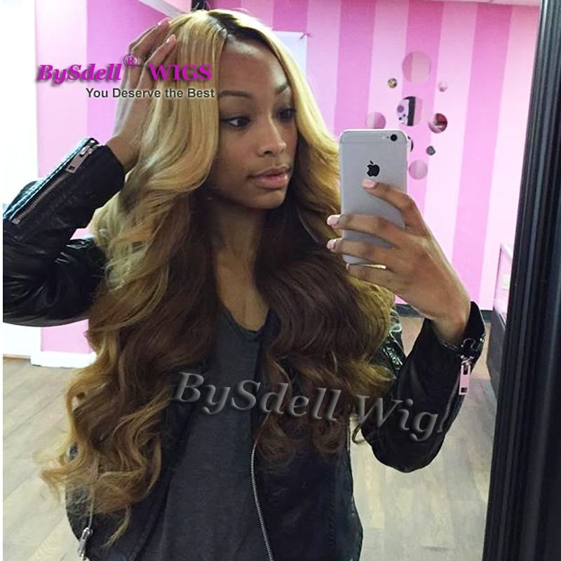 New Arrival Synthetic Dark Roots Ombre Blonde to Dark Brown Color Kim K Curl Hair Wig Fashion None Lace Front Wigs for Black Women
