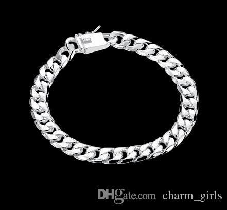 2017 Best-Selling Platerowanie 925 Silver Męskie Sideways Bransoletka Srebrna Biżuteria 20 CM * 8mm 10 sztuk / partia Darmowa Wysyłka