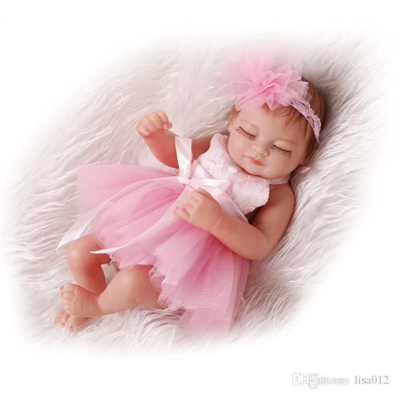 Real Life 11inch Bebe Reborn Baby Girl Doll Sleeping Baby in Pink Silk Dress