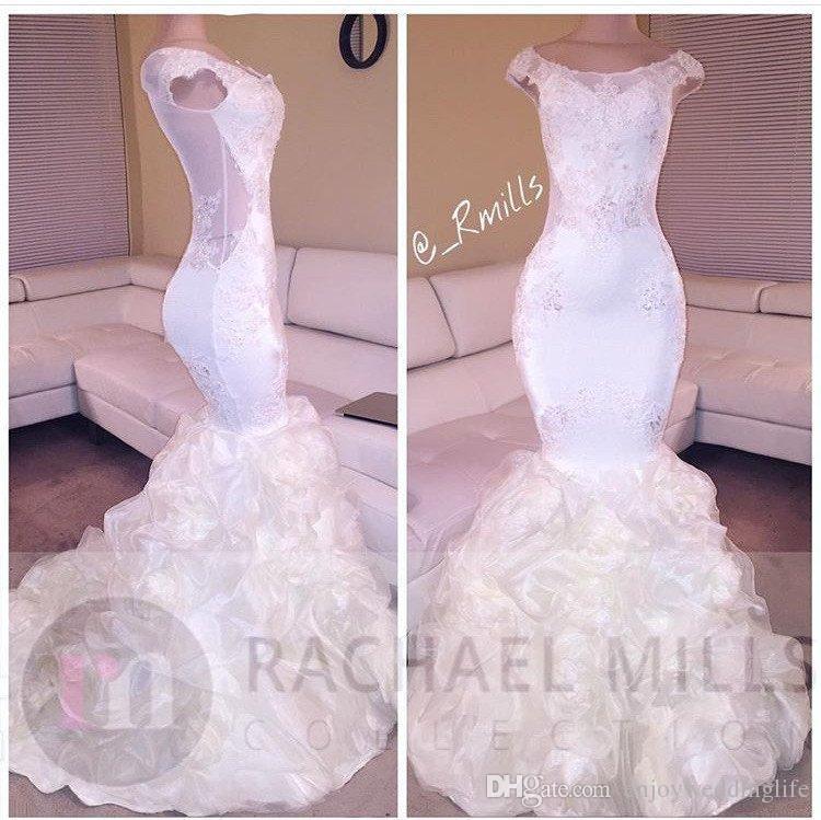2017 New White Elegant Mermaid Prom Dresses Cap Sleeves Illusion Indietro Gonne gonfi Abiti da sera lunghi Celebrità araba Celebrazione partito formale