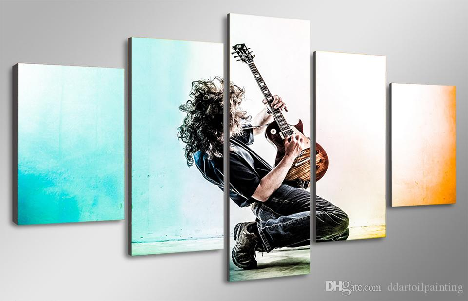 5 Panels Fashion Music Playing Guitar Oil Painting HD Print Pictures on Canvas for Home or Living Room Decoration Print Poster No Frame