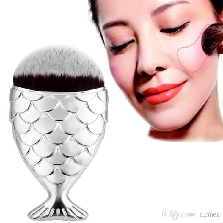 2017 neue fischschuppen make-up pinsel fischschwanz boden pinsel pulver erröten make-up kosmetik pinsel werkzeug dhl-freies