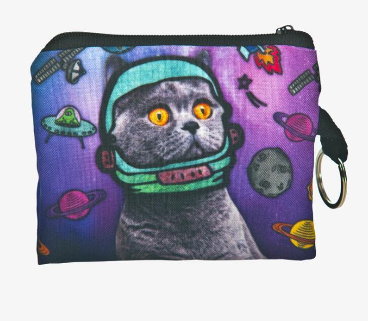 Girl printing coins change purse 3D Cats Dogs Animal Big Face Change Fashion Cute SmallClutch zipper zero wallet phone key bag