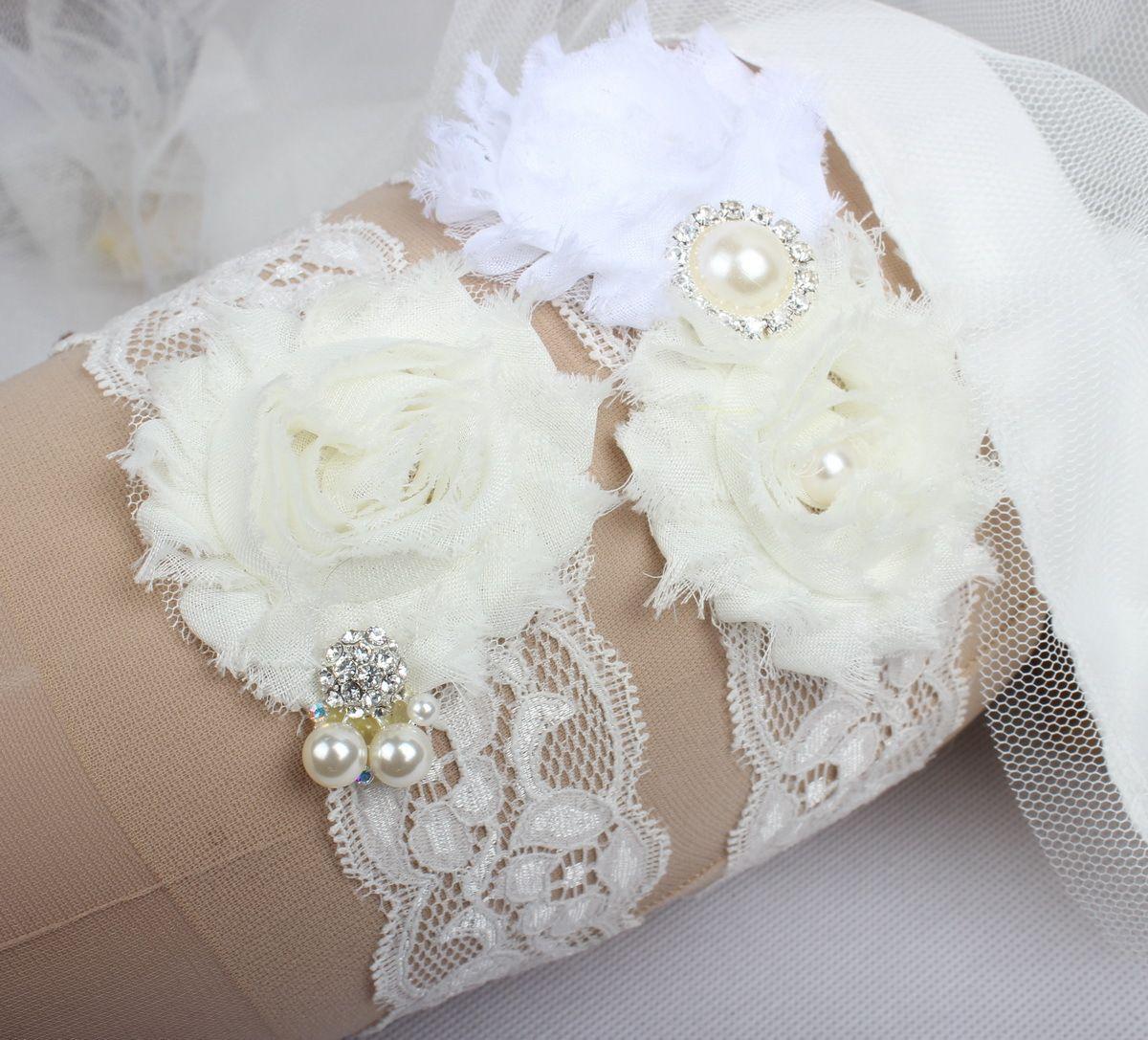In Stock Lace Bridal Wedding Garter set with Rhinestones and Ivory Chiffon Flowers Country Wedding Bridal Leg Garters