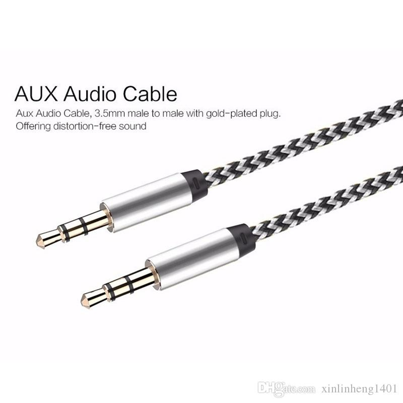 Cable de extensión AUX de audio para el automóvil trenzado de nylon 3 pies cableado auxiliar de 1 M Cable de 3,5 mm macho estéreo para Apple y Andrio altavoz del teléfono móvil
