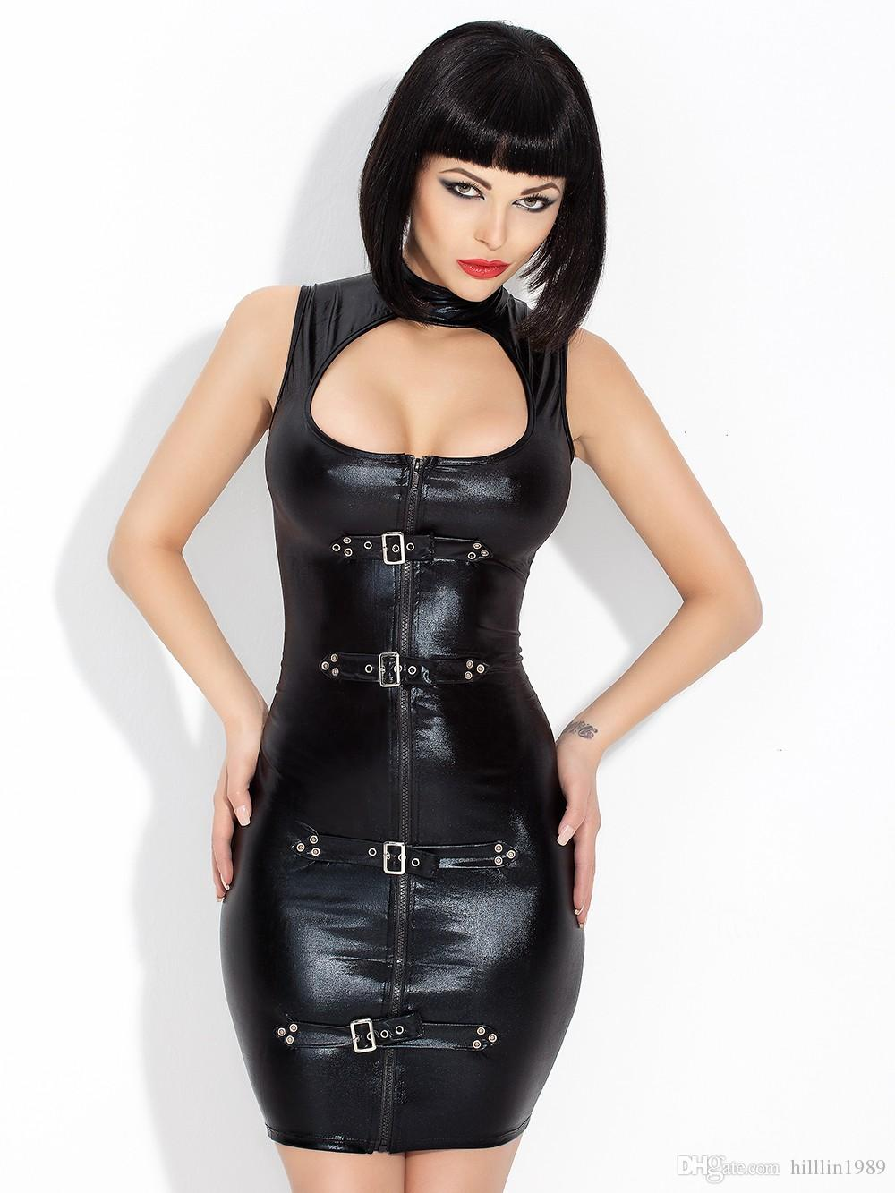 party dress hot women black vinyl sexy hollow out leather bodycon
