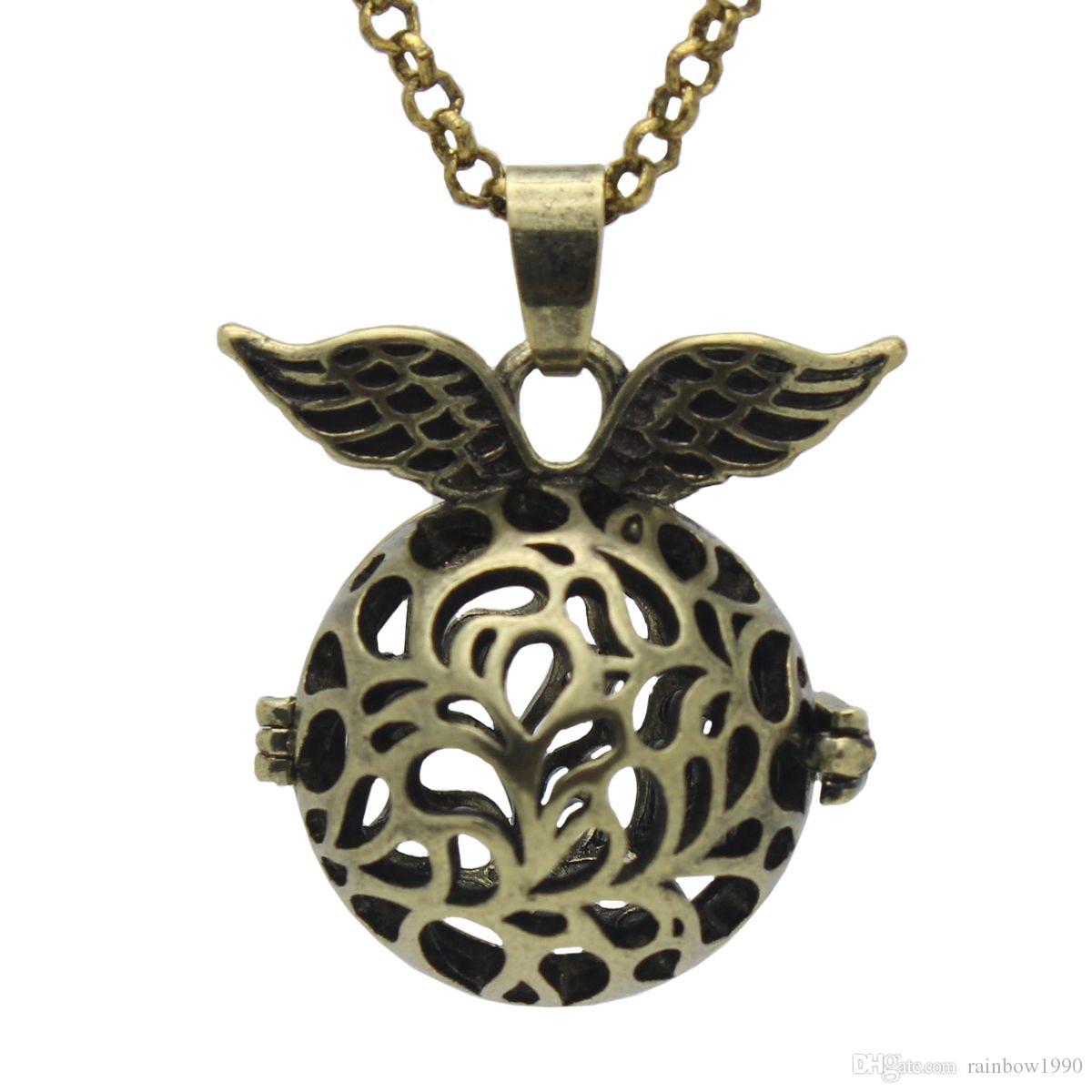 """Wholesale Antique Bronze Angel Wing Flower Hollow Cage Locket Aromatherapy Essential Oil Diffuser Pendant 30"""" Chain Necklace"""