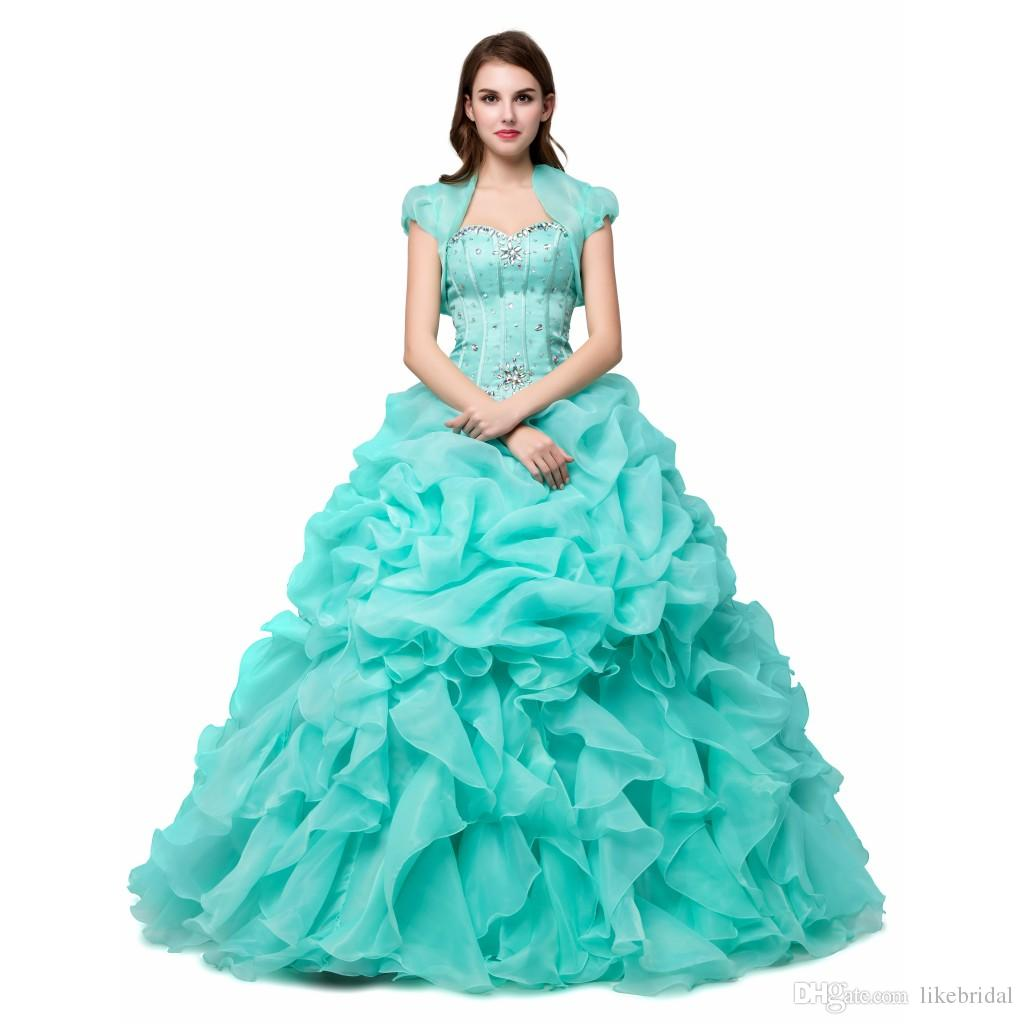Beautiful Ball Gown Sweetheart Sequined Beads Quinceanera Dress for Girls Sweet 16 Ruffled Organza Turquoise Party Gown Short Sleeves Jacket