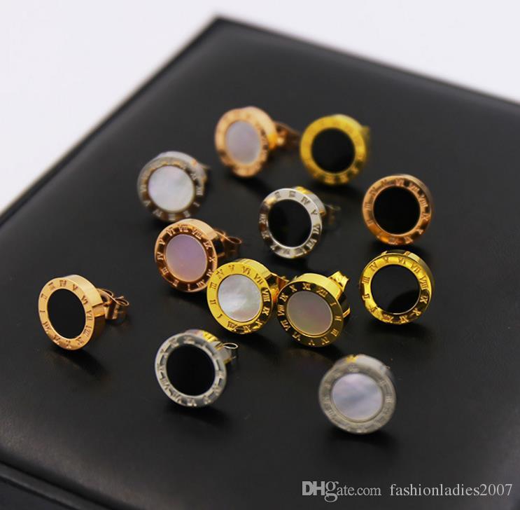 Célèbre Marque B designer Femmes Boucles D'oreilles avec Noir et Blanc Shell Conception Mode 316L Titanium acier boucle d'oreille bijoux pour femmes
