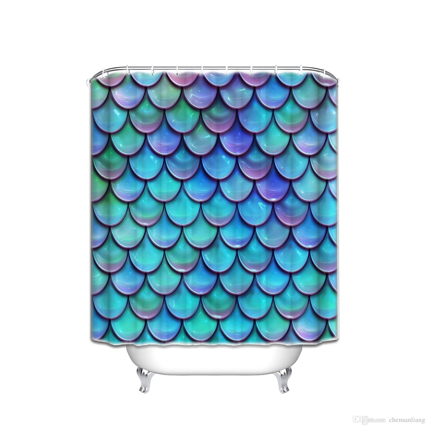 2018 Shower Curtain Fish Scales Purple Blue Bathroom Polyester Curtains Waterproof Antibacterial With 12 Hooks Bath From Chensanliang