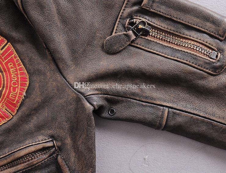 S.A.R Air Force Flying Locomotive Chaqueta de cuero genuino para hombres Short Slim clothing Abrigos de cuero Vintage outwear