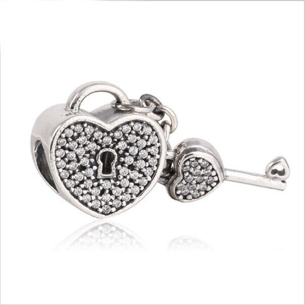Sterling Silver Heart Key Clip on Charm s24Utv