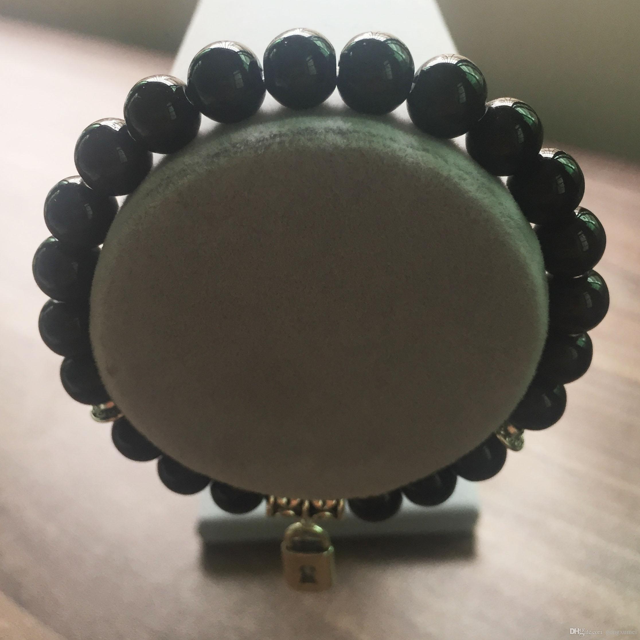 8MM Black Onyx Bracelet Round Bead Bracelet Natural Stone love lock pendant Yoga Prayer Bracelets Mala Beads Bracelets