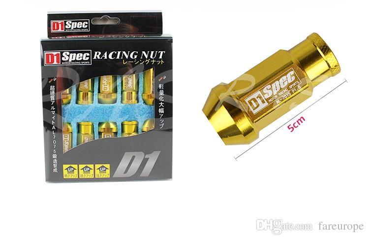 D1 Spec Performance Racing Wheel Lug Nuts Screw M12x1.5/1.25 Length 50mm Aluminum Universal RS-LN007