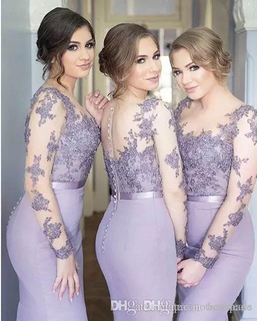 Elegant Gaine Lavande Satin Long Robes De Demoiselle D'honneur Appliques Scoop Neck Sheer Longue Sans Manches Robes De Noce