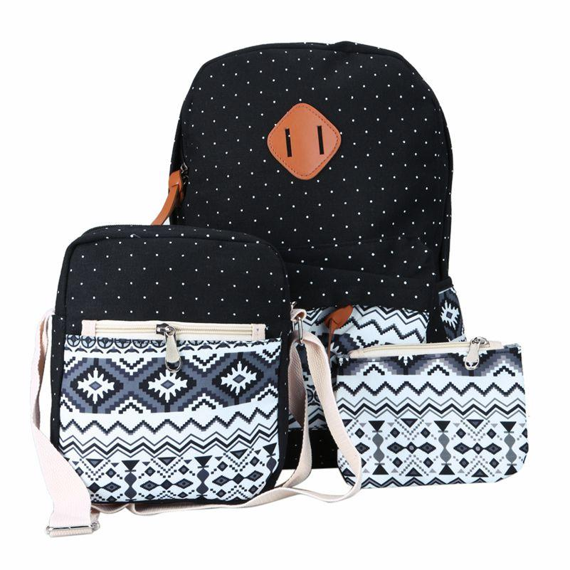 312e41cf36 Wholesale- Ethnic Women Backpack for Teenagers Girls Stylish School Bag  Ladies 3 pcs/set Vintage Canvas Printing Backpacks Escolar bolsa