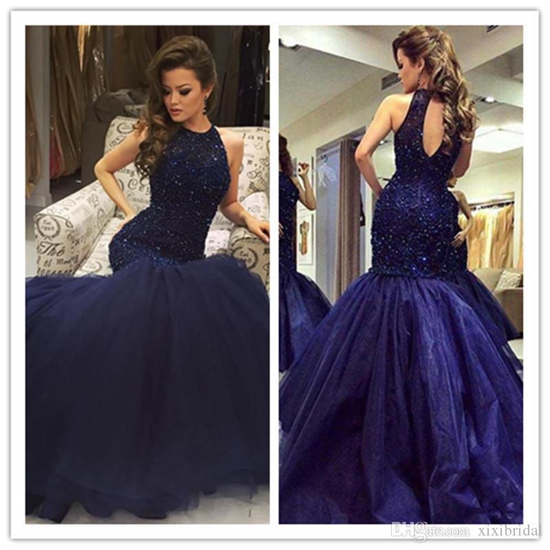 2017 Dark Navy sirena vestidos de baile Bling Bling con cuentas lentejuelas joya cuello hueco espalda Sexy Celebrity vestidos vestidos de noche formales