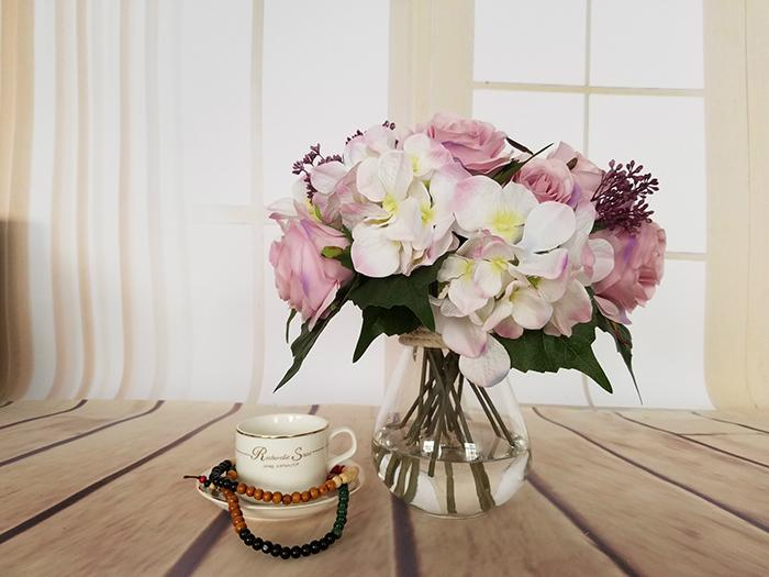 Spedizione gratuita i Emulational Primavera Artificiale Rosa Ortensia fiore Mazzi di Seta Fiore All'ingrosso weddding o Home Room decorazione