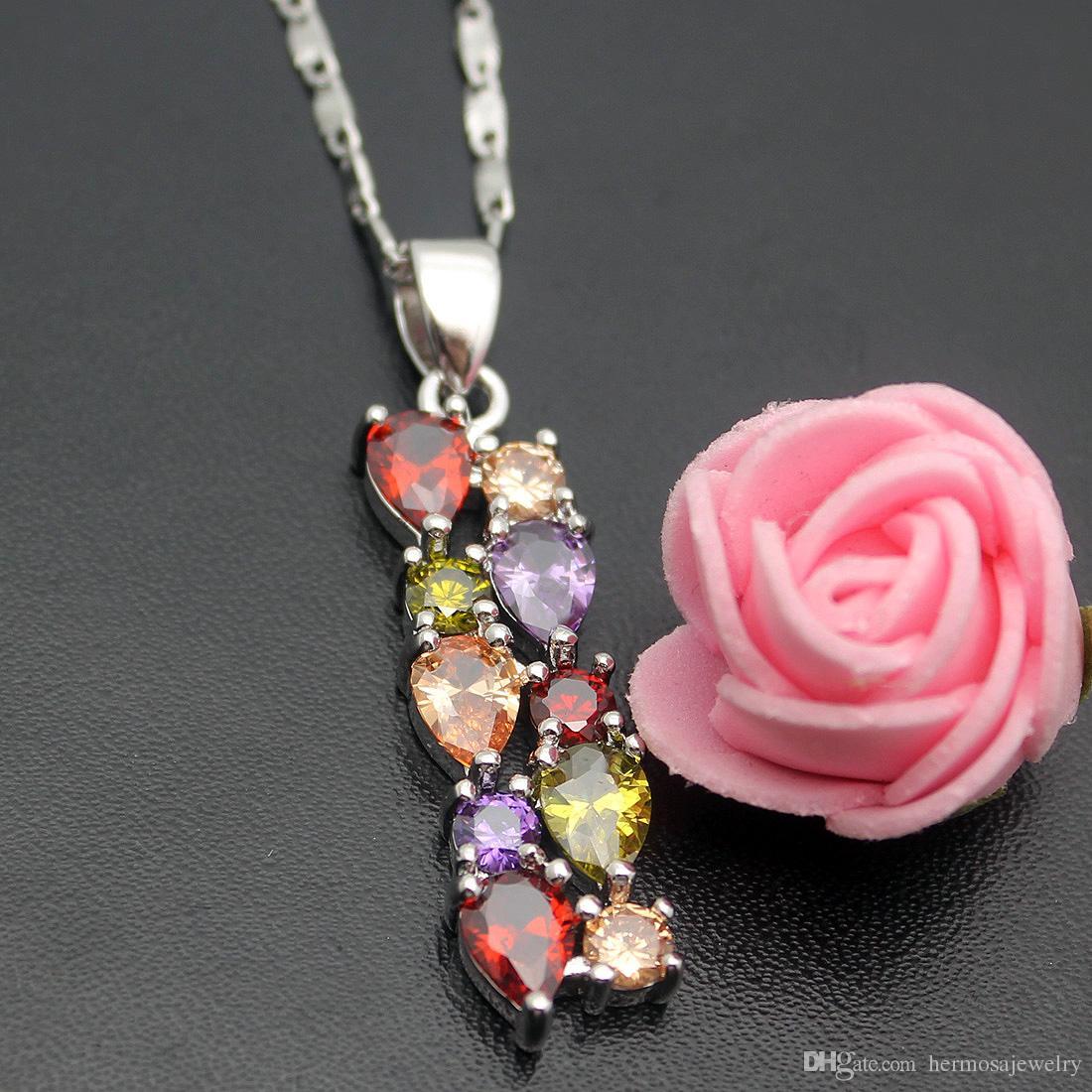 Frauen Schmuck Sterling Silber Anhänger Halskette Edelstein Morganite Granat Amethyst Peridot Dazzling Prom Modeschmuck Kette 18