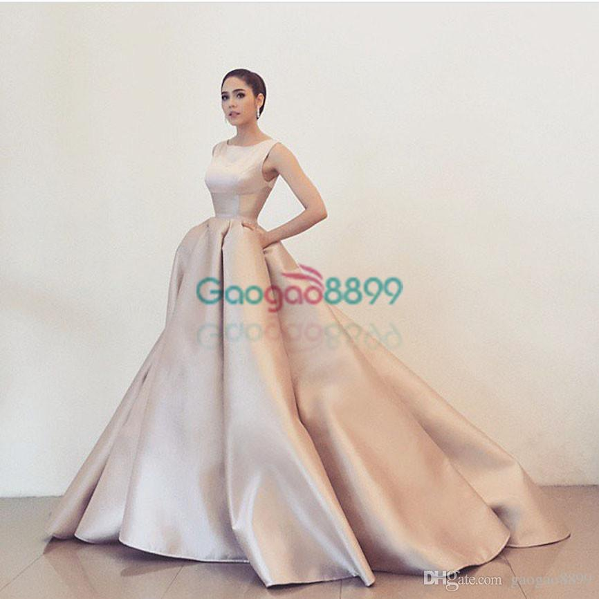 Nude Cathedral Train Prom Gowns 2017 Simple Design Vestidos De ...