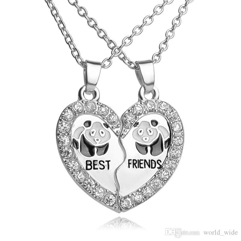 Wholesale Best Friends Necklace Bff 2 Part Broken Heart Pendant