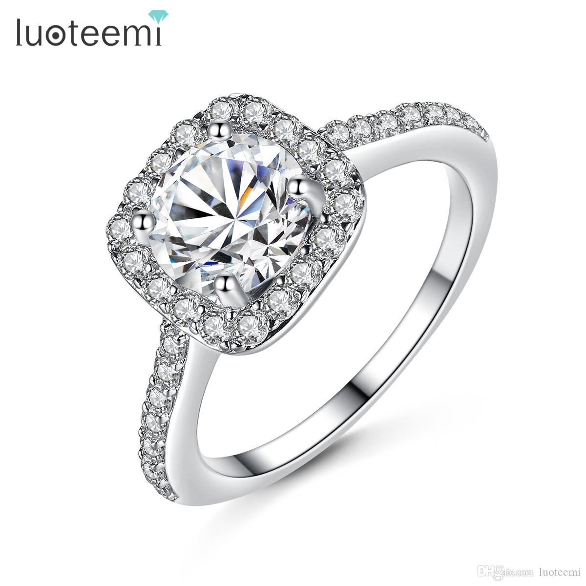 Classic Simple Design Ring Aaa Zircon Square Cz White Gold Color