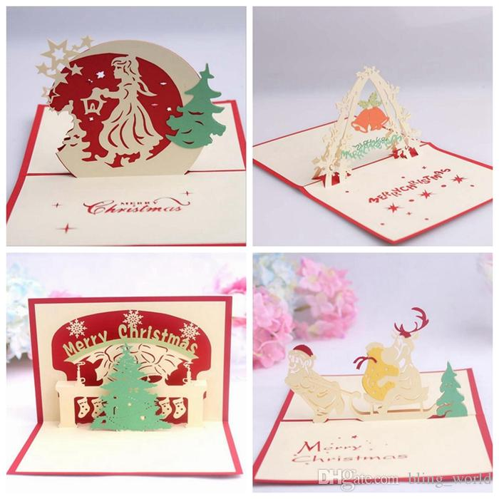 christmas greeting cards 3d handmade invitation card merry christmas pop up greeting cards creative festival gifts 7 styles yw239 christmas greeting cards