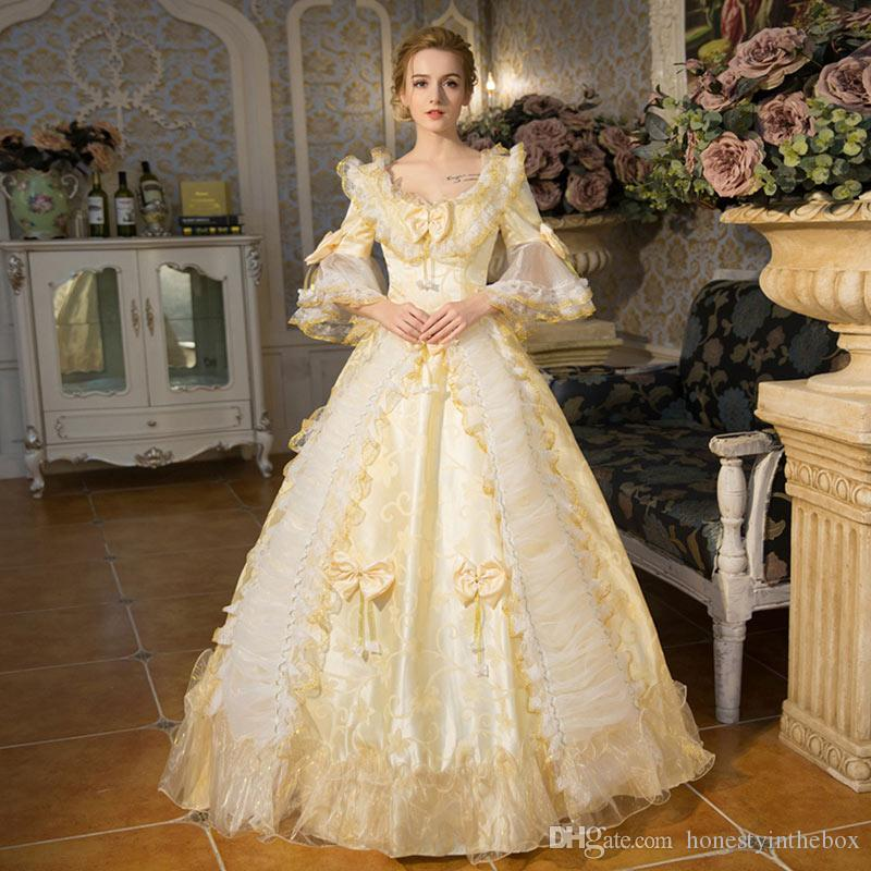 Customized 2016 Elegant Champagne Hepburn Lace Flare Sleeve Victorian Belle  Dress Medieval Marie Antoinette Dresses Online with  154.29 Piece on ... 03dc7b73d