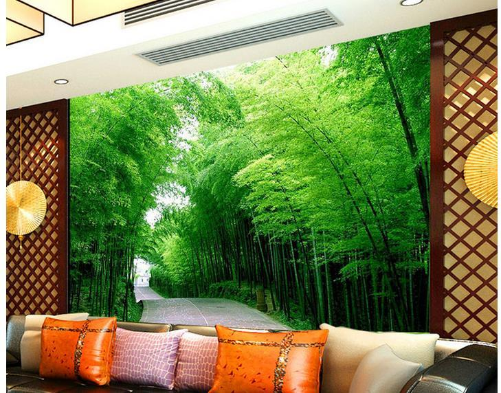Custom Any Size High Rise Bamboo Forest Golden Road Mural Background
